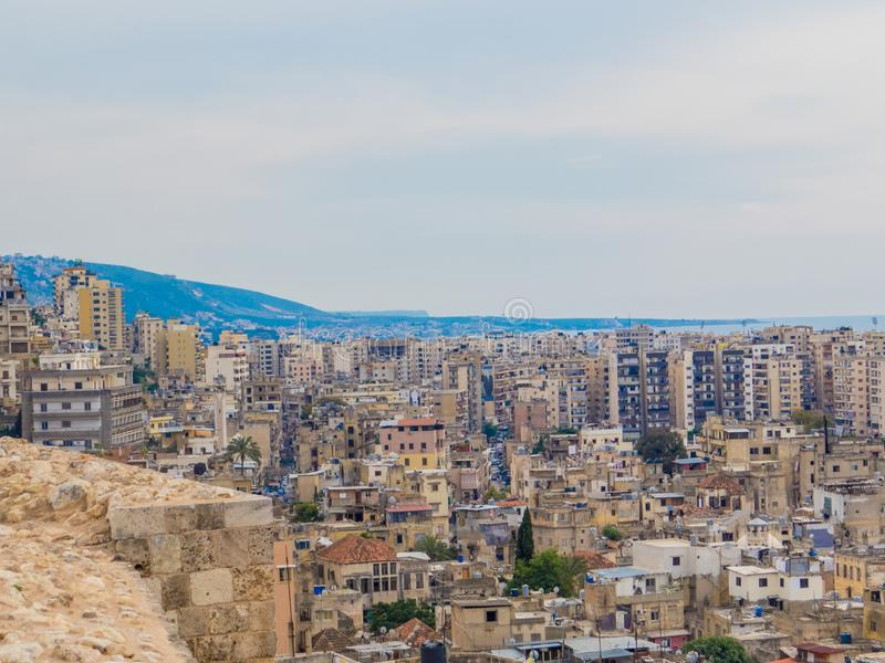 Tripoli, Lebanon. City aerial view from the Tripoli Castle royalty free stock images