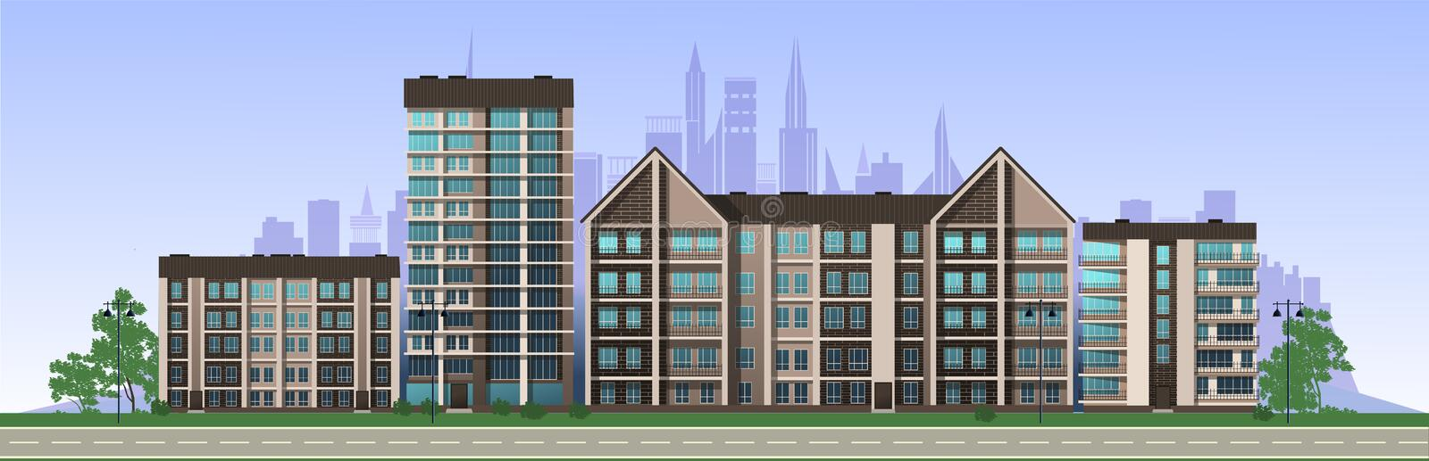 City in the afternoon. Residential buildings, cafes, school. Vector royalty free stock photo