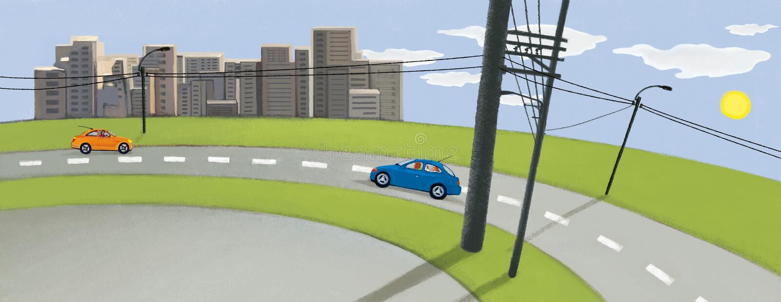 City against the blue sky and green field. Two cars on the road. Electric poles. Urban pastoral royalty free illustration