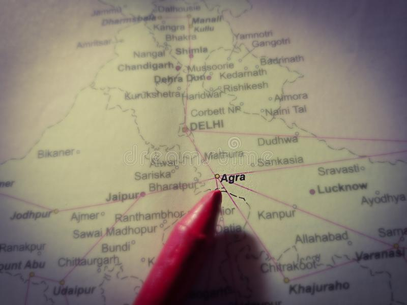 City agra in India displaying on geographical location map on paper. State, place, tourist, area, text, displayed, presentation, speed, difference, asia royalty free stock photography