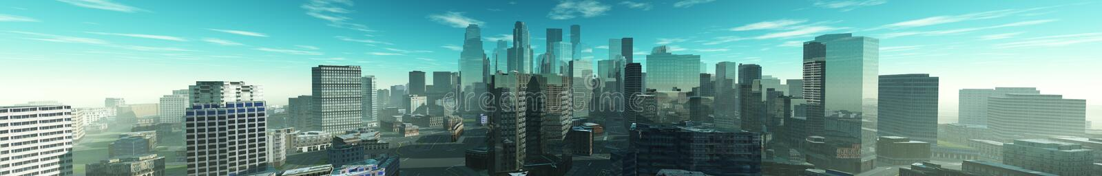 City from the air. Panorama of the city center from above. 3D rendering vector illustration