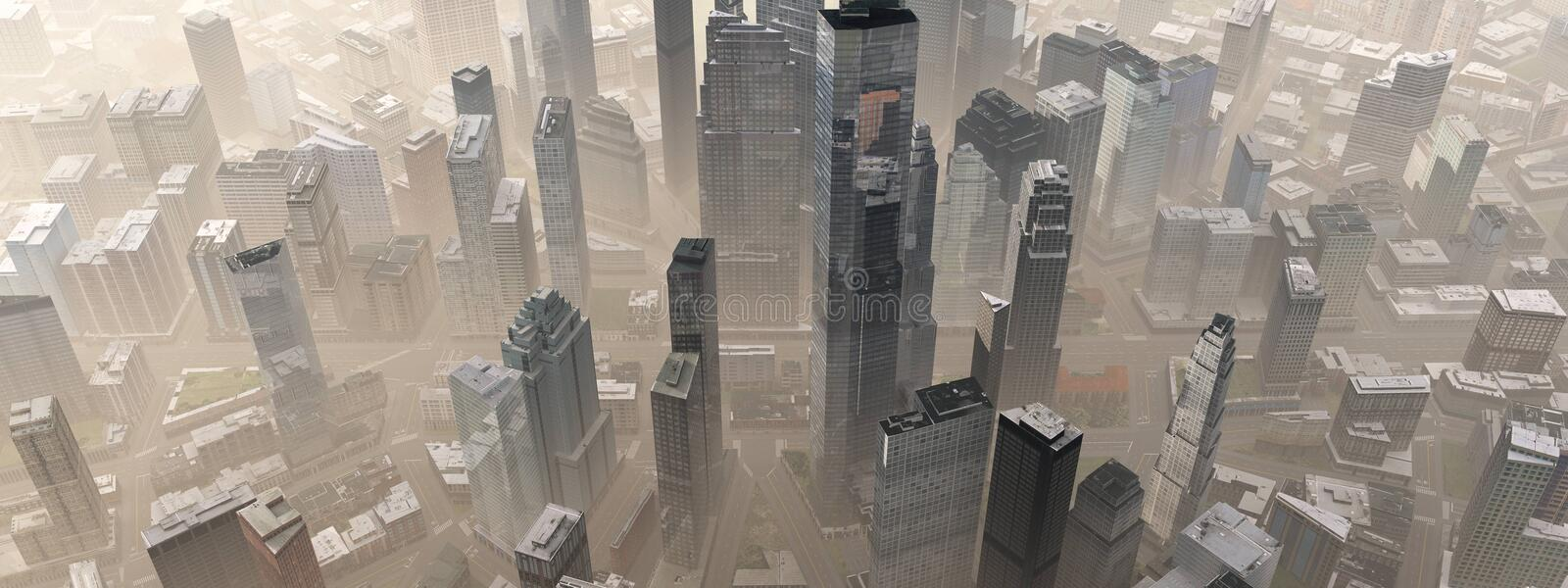 City from the air. Panorama of the city center from above. 3D rendering royalty free illustration