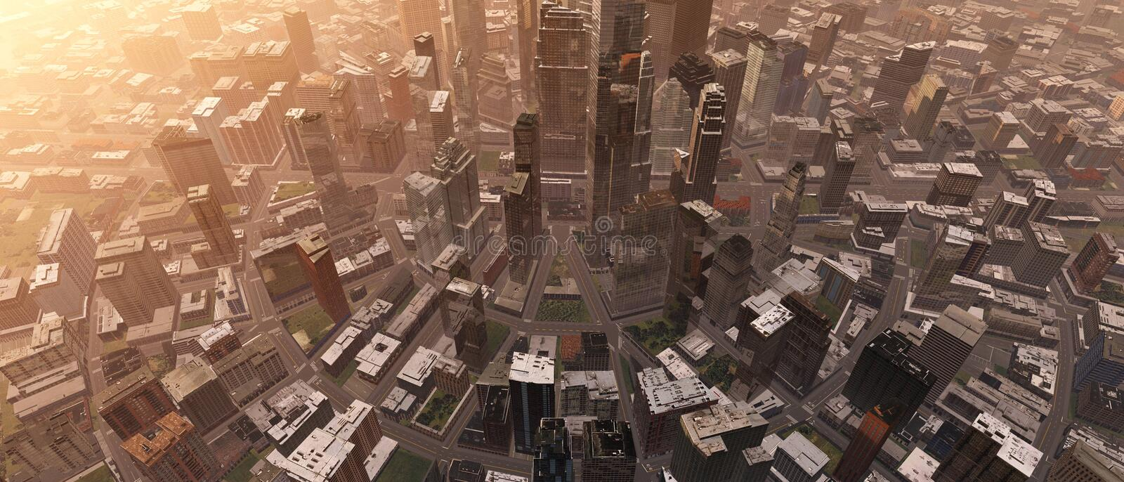 City from the air. Panorama of the city center from above. 3D rendering stock illustration