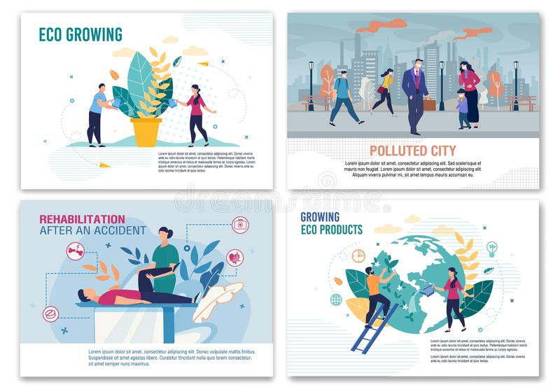 Pollution, Rehabilitation, Eco Growing Banner Set. City Air Pollution, Rehabilitation after Accident, Eco Food Products and Plants Growing Banner Set. Social vector illustration