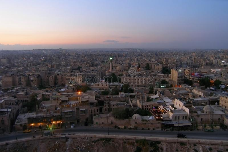 City of Aleppo, Syria, evening view from the citadel royalty free stock image