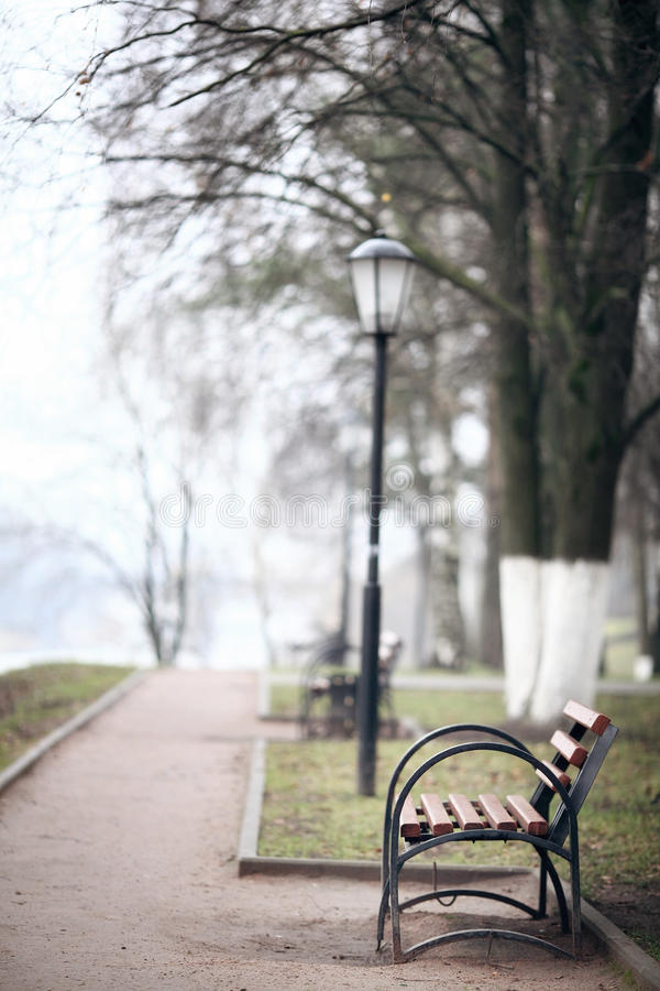 Free City alley Autumn Bench Loneliness Royalty Free Stock Image - 45559616