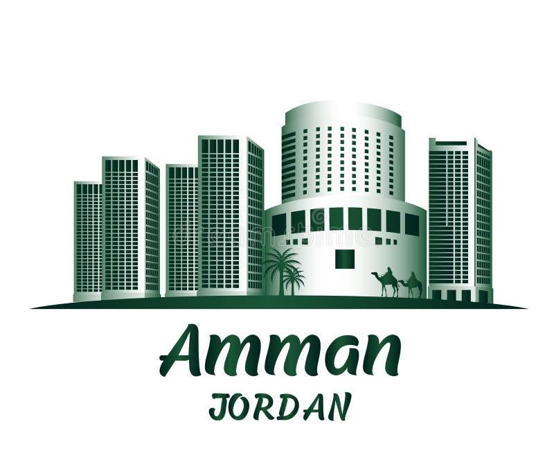 City of Amman Jordan Famous Buildings. Editable Vector Illustration royalty free illustration
