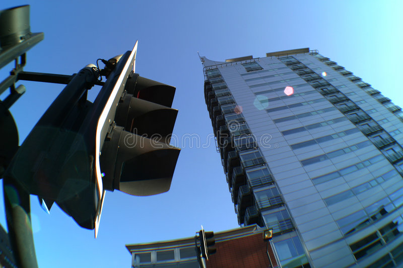 City Apartments. City apartment block and traffic lights, Leeds, West Yorkshire, England stock photo