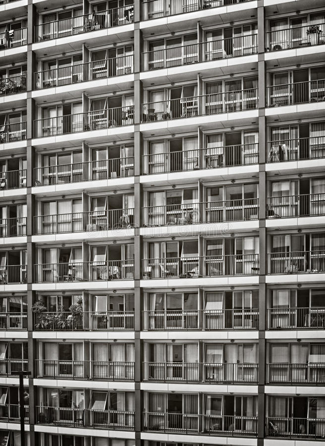 City Apartments. With balconies in black and white royalty free stock image