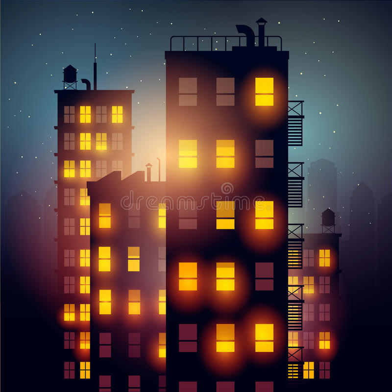 City Apartments At Night. Vector illustration of apartment blocks in a city at night stock illustration