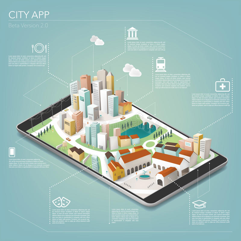 City app. With icons and tridimensional colorful metropolitan city on touch screen tablet or smartphone