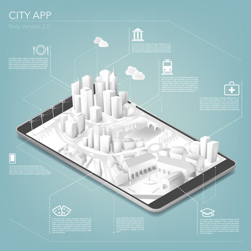 City app. With icons and tridimensional paper city on touch screen tablet or smartphone vector illustration