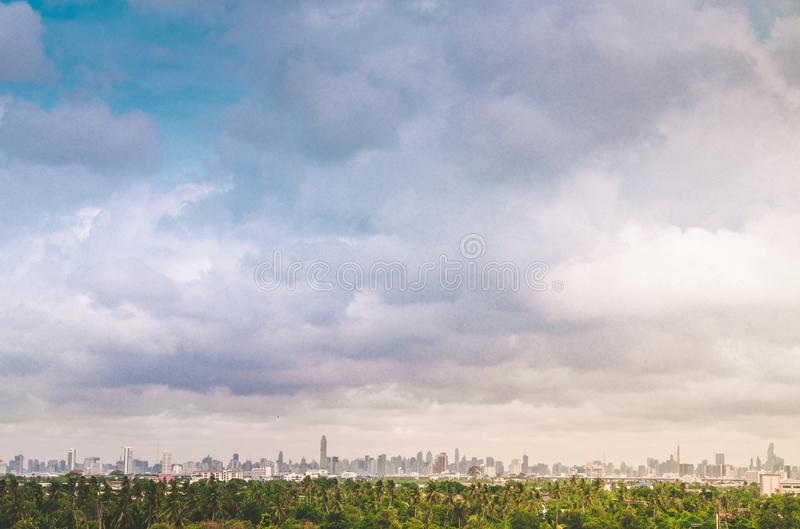 City. Architectural modern buildings in panoramic view on background. Tree nature area .the nature and modern city life. Urban concept .zoning idea save royalty free stock images