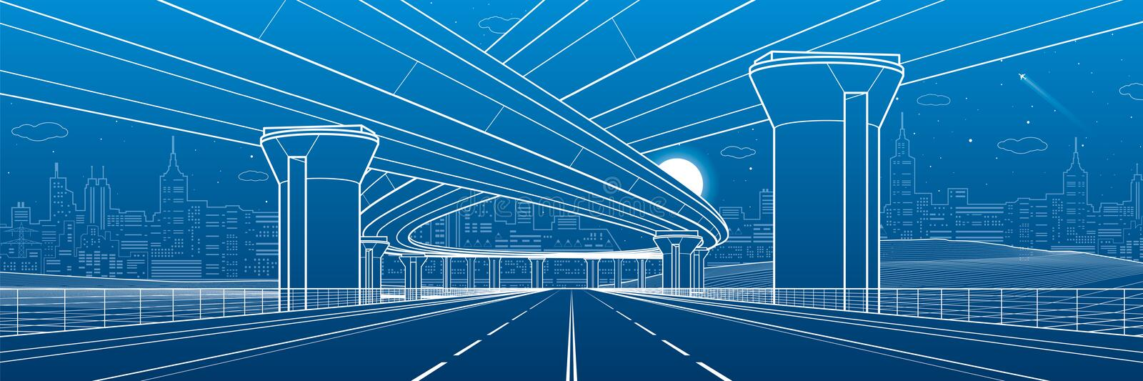 City architecture and infrastructure illustration, automotive overpass, big bridges, urban scene. Night town. White lines on blue. Background. Vector design art vector illustration