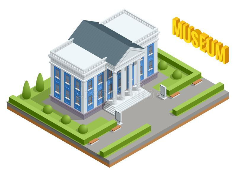 City architecture public government building. Isometric museum building. Exterior of Museum building with title and. Columns. Vector Illustration royalty free illustration