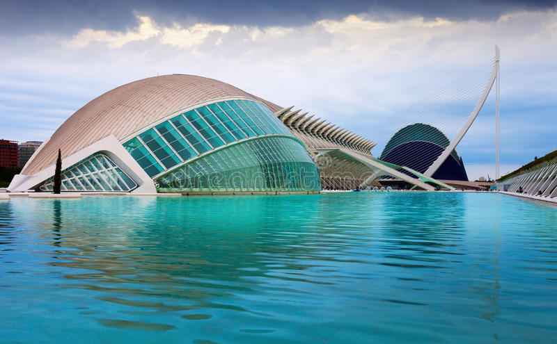 City of Arts and Sciences in dusk stock photography