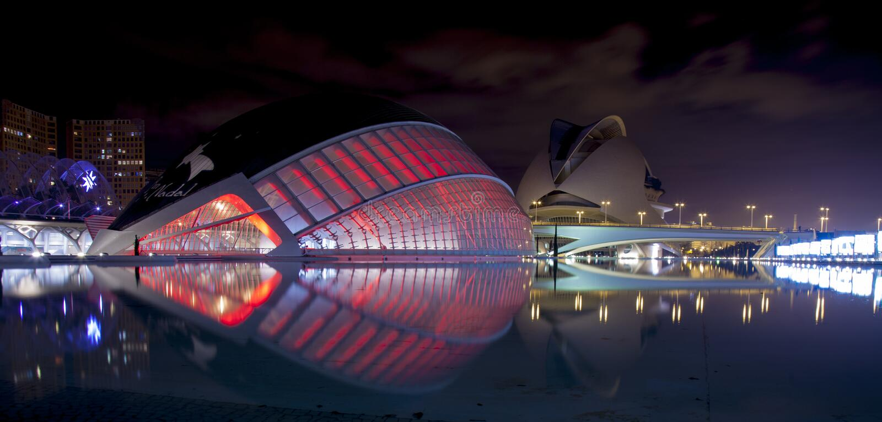City of the Arts and Sciences, la Ciutat de les Arts i les Ciències is lit up at night, in Valencia, Spain royalty free stock images
