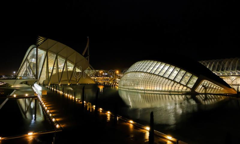 City of Arts and Sciences night view, Valencia, Spain. Night view of the City of Arts and Sciences in Valencia, Spain. It is made up of impressive buildings such stock photos