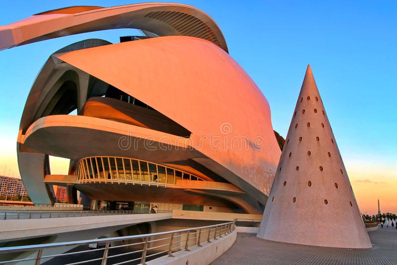 Valencia, Spain. City of Arts and Sciences Opera at sunset in Valencia, Spain royalty free stock images