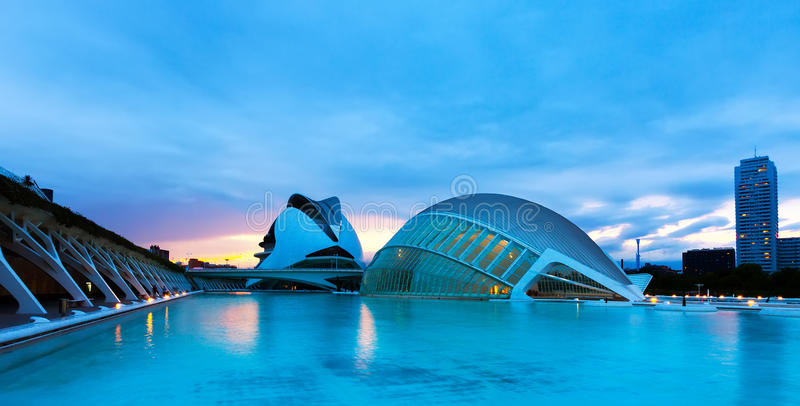 City of Arts and Sciences in summer evening stock image