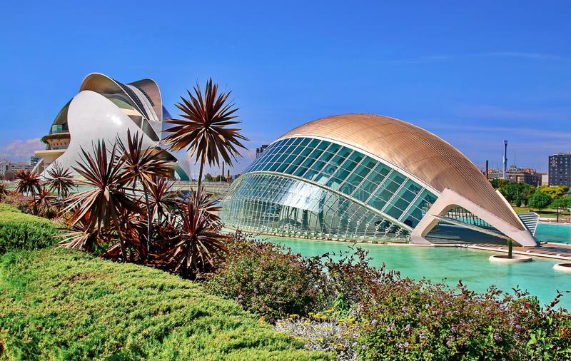 Valencia, Spain. City of Arts and Sciences at sunset in Valencia, Spain
