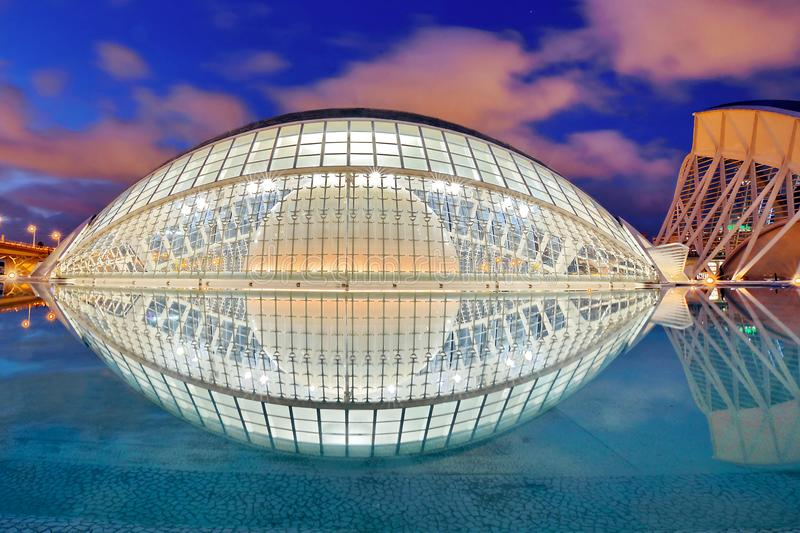 Valencia, Spain. City of Arts and Sciences at sunset in Valencia, Spain stock images