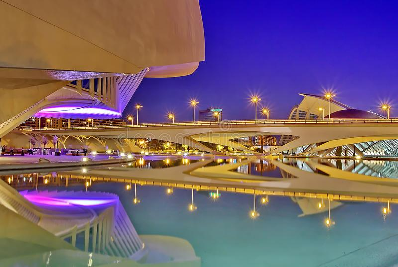 Valencia, Spain. City of Arts and Sciences at sunset in Valencia, Spain royalty free stock image