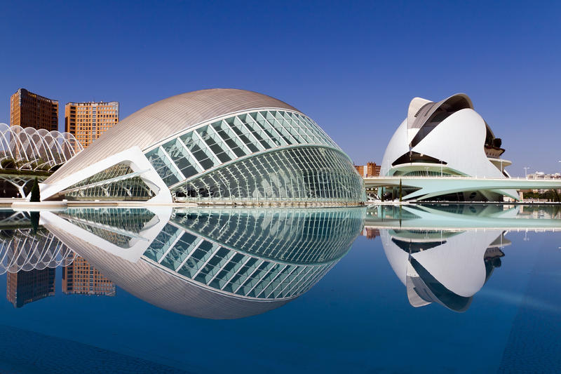 City of Arts and Sciences Valencia, Spain. VALENCIA, SPAIN - AUGUST 21: Hemisferic in The City of Arts and Sciences on August 21, 2011 in Valencia, Spain. This stock images