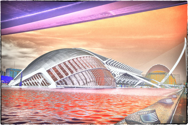 The City of Arts and Sciences in Valencia, Spain. Cultural and Architectural Complex in Valencia, Spain designed by Calatrava royalty free stock photography