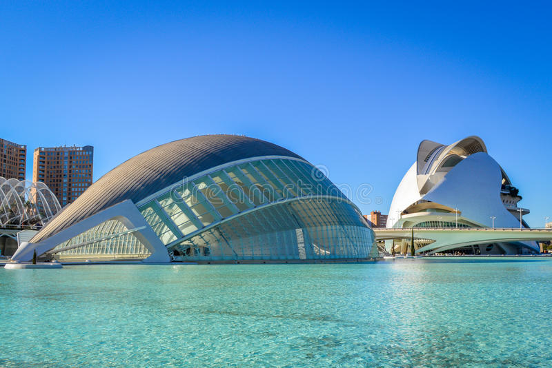 The City of Arts and Sciences, Valencia, Spain - The Hemisferic and the Palau de les Arts. The City of Arts and Sciences is a modern architectural complex in the stock image