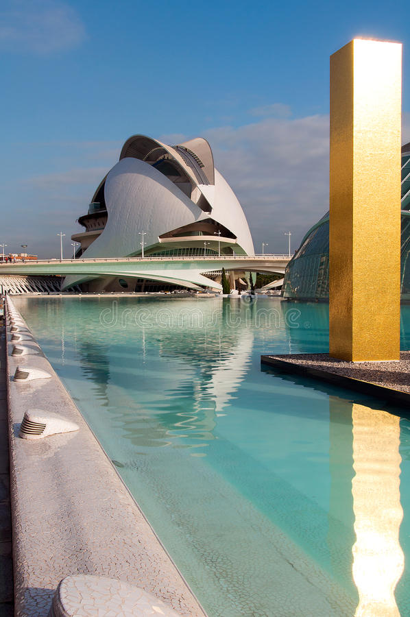 City of Arts - Structure reflection in pool. Swimming pool, gold and theatre - City of Arts - Structure reflection in pool - Valencia - Spain royalty free stock images