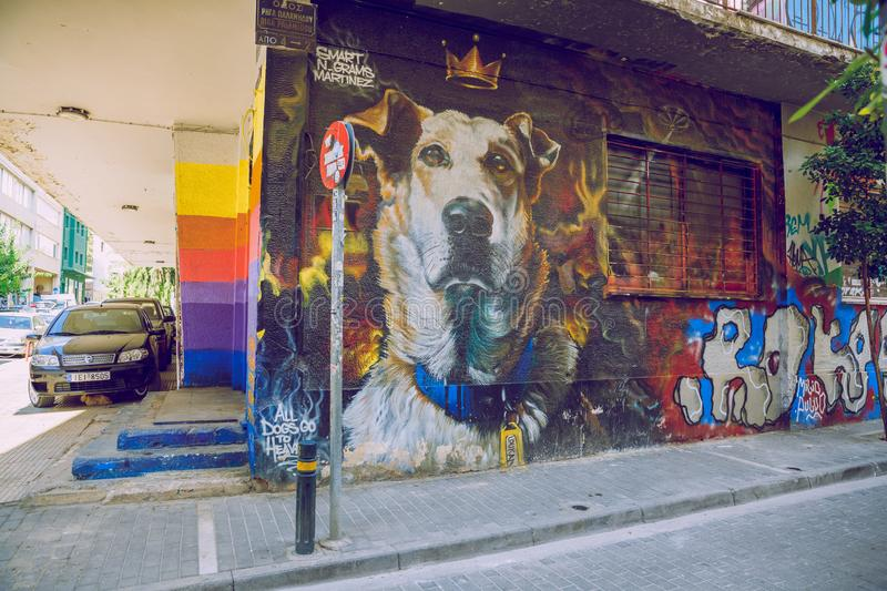 City Athens,  Greek Republic. Buildings with graffiti on the wall. Urban street. 11. Sep. 2019. City Athens,  Greek Republic. Buildings with graffiti on the wall royalty free stock photo