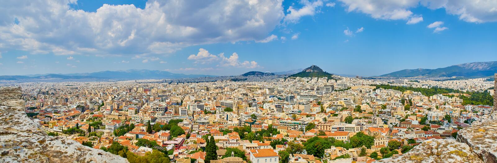 City of Athens. View from the Acropolis viewpoint. Attica, Greece. royalty free stock images