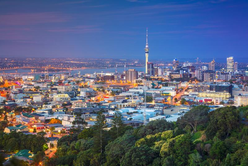 City of Auckland, New Zealand. Cityscape image of Auckland skyline, New Zealand taken from Mt. Eden at dusk stock image
