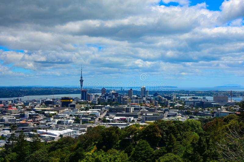 City of Auckland, New Zealand from Mt. Eden stock photography