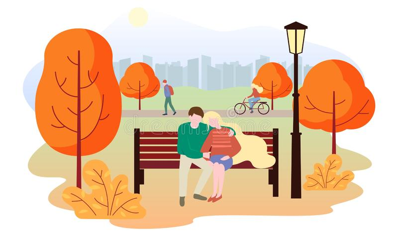 City autumn park landscape. People walk in the park, rides a bicycle, a couple in love sits on a bench. The guy hugs the stock illustration
