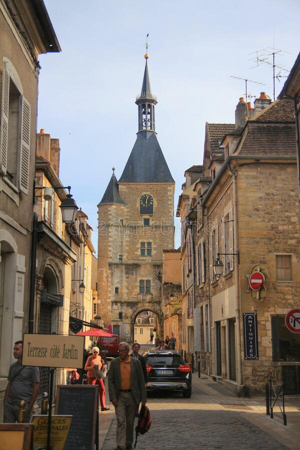 The city of Avallon, small city in the bourgogne region, France stock images