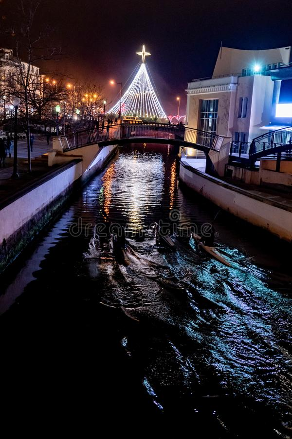 City of Aveiro in Portugal. In the Christmas night stock photography