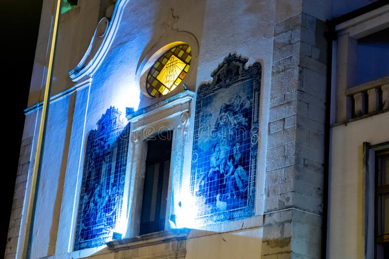 City of Aveiro in Portugal. In the Christmas night stock images