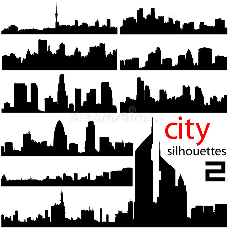 City background 2 vector. City silhouette background 2 vector vector illustration