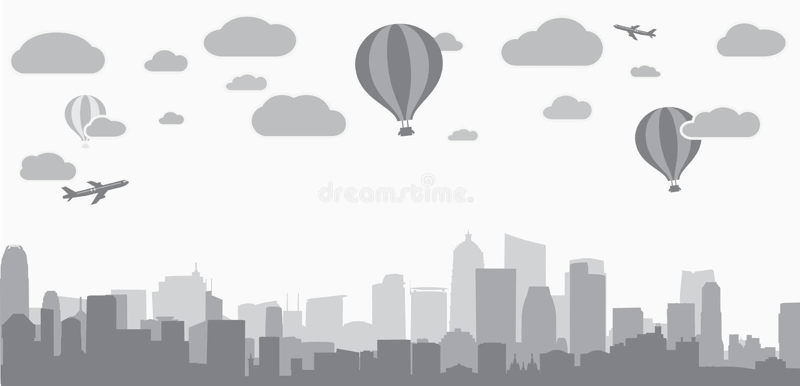 City background for advertising real estate services vector illustration