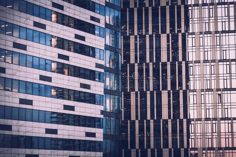 City background. Architecture steel and glass facade details. Modern Building Exterior texture.  stock photography