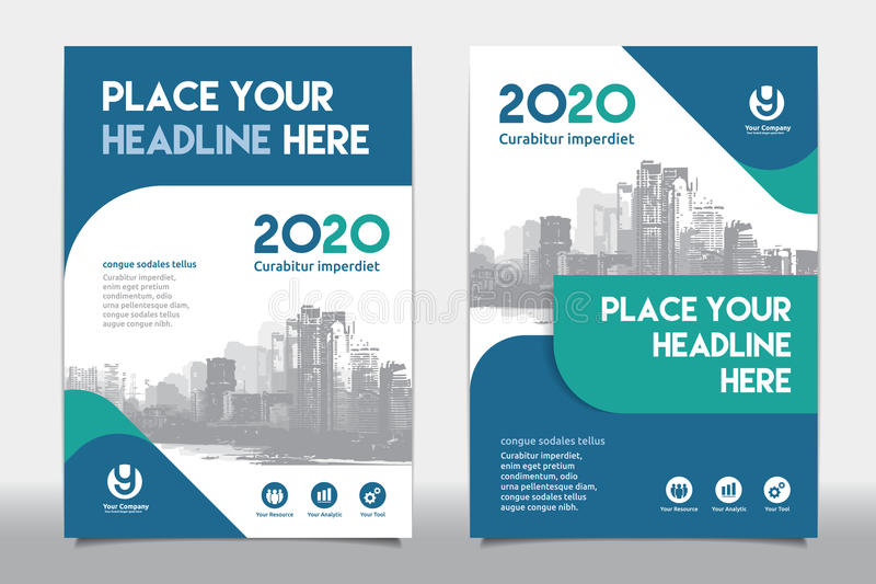 City Background Business Book Cover Design Template in A4 royalty free stock photo