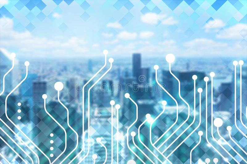 City background with circuit interface stock images