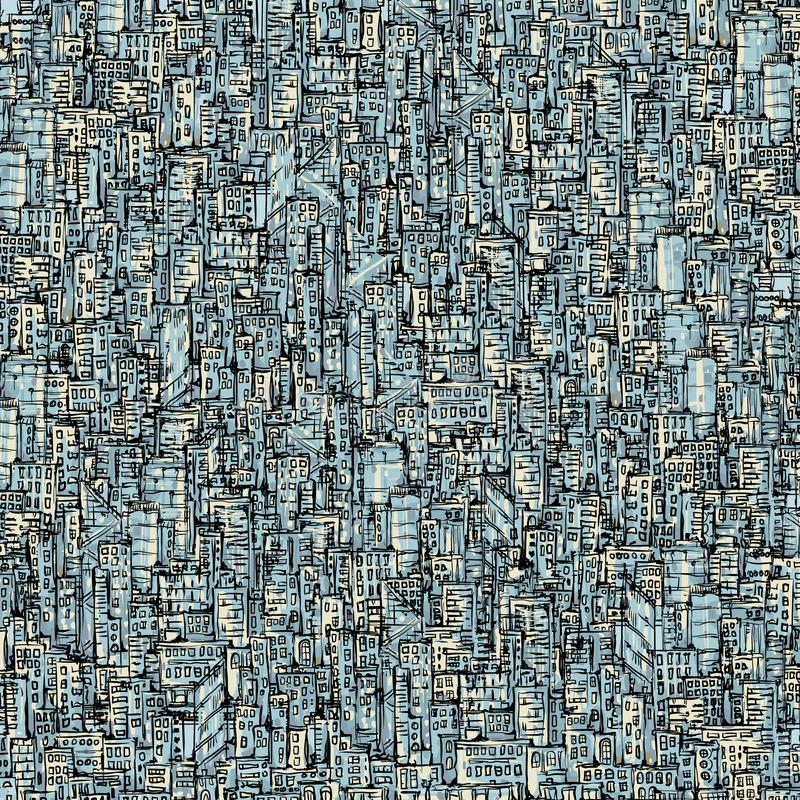 City background. Hand drawn vector illustration