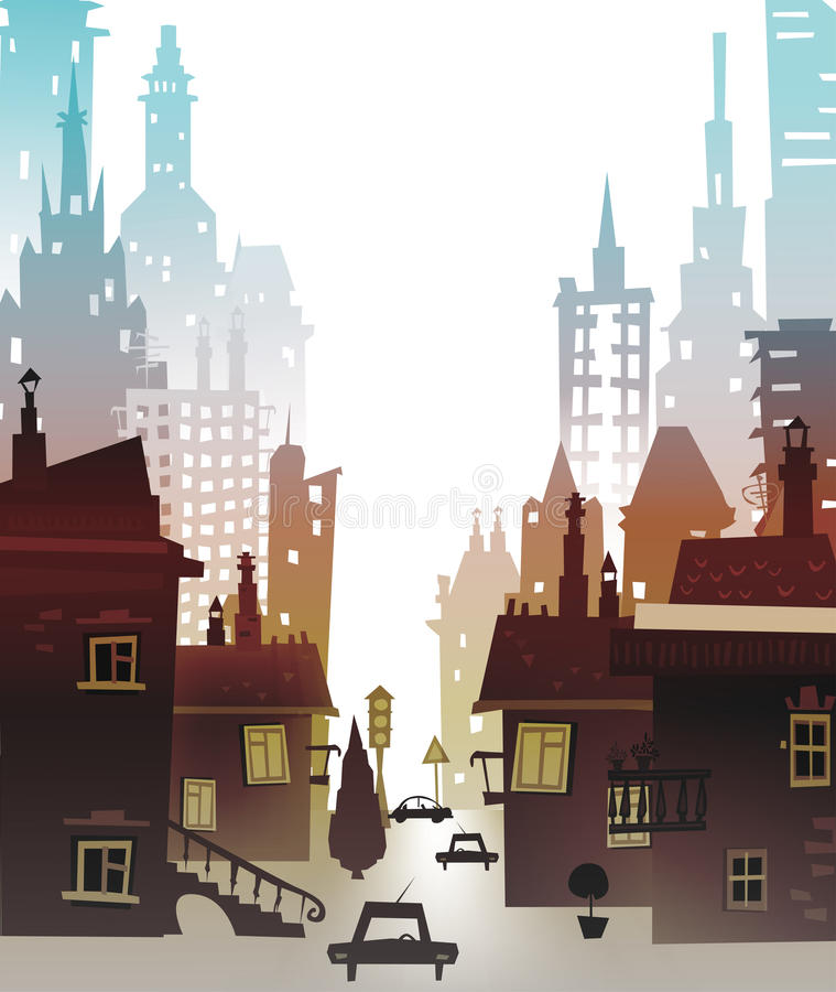 City background made of many building silhouettes. City background made of building silhouettes vector illustration