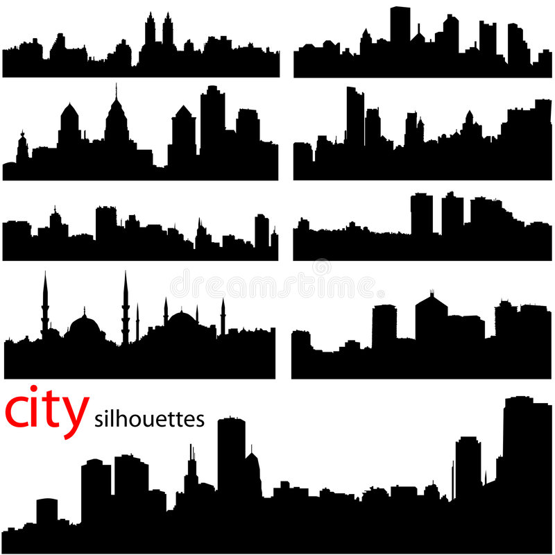 City background vector. In black stock illustration