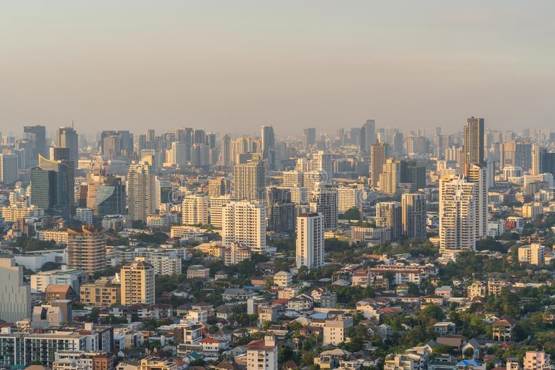 City of Bangkok with air pollution stock images