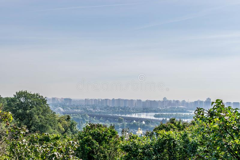 The city on the banks of the Dnieper River royalty free stock image