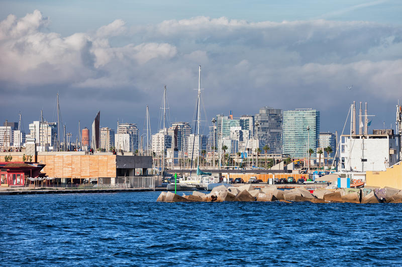 City of Barcelona Downtown Skyline. From the sea, Catalonia, Spain royalty free stock photo